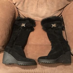 Coach Suede Wedge Fur Boots 9m